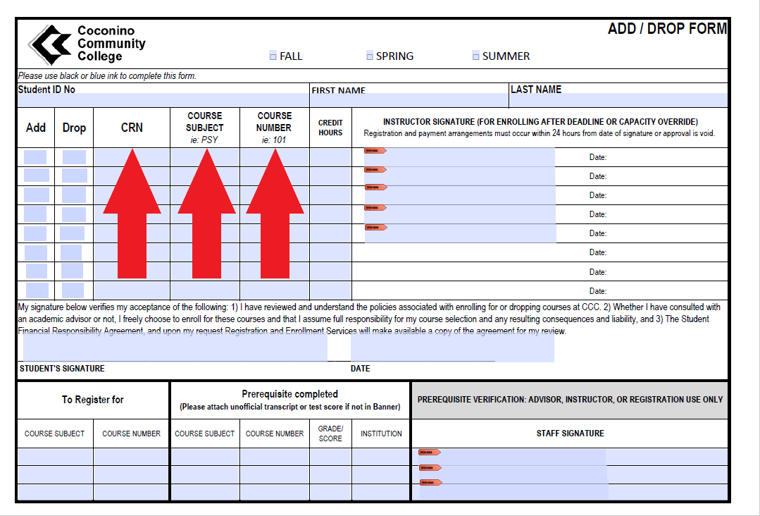 Red arrows indicate to fill in the CRN, Course Subject, and Course Number column on Add-Drop form