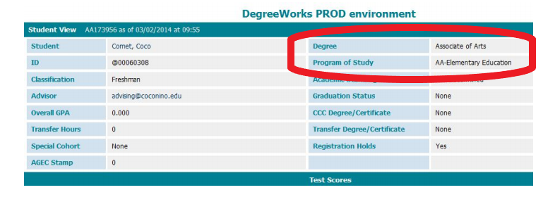 Red circle indicating location of Degree and Program of Study on the Degree Works Student Information Block