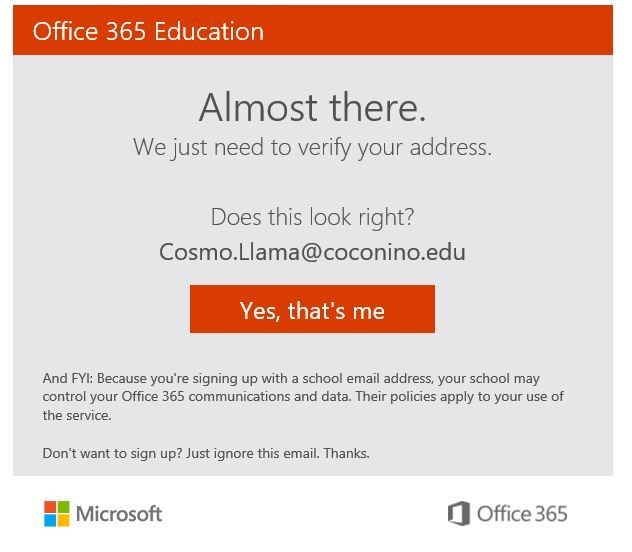 Office 365 verifying if the email is correct