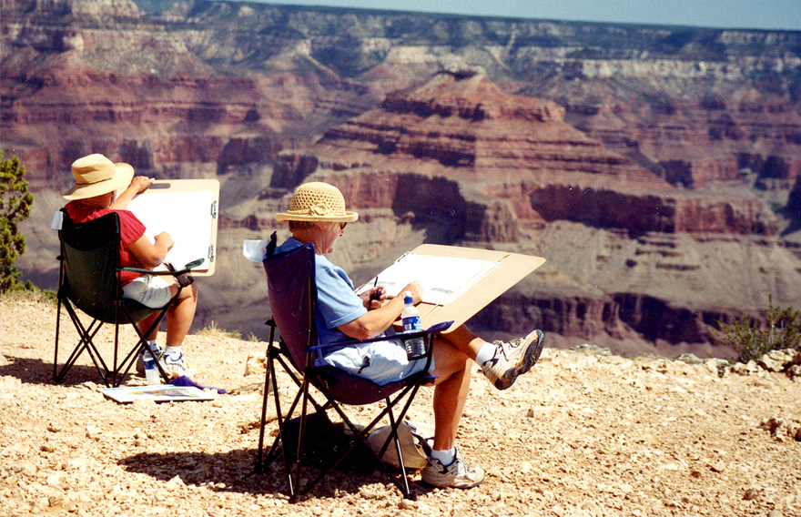Grand Canyon Artists at Work Drawing the Canyon