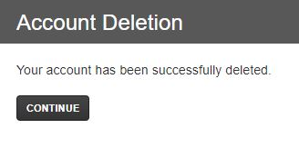 Rave message stating the account has been successfully deleted