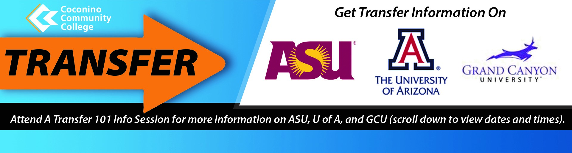 Basic Transfer Timeline for CCC Students interested in Transferring to ASU, U of A, or GCU