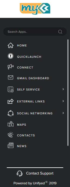Menu items - Search, Home, Quick Launch, Connect, Gmail Dashboard, Self Servcice, External Links, Social Networking, Maps, Contacts, News and Contact Support